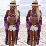 Berry Bohemian Tassel Swimsuit Cover Up - The Urban Doll