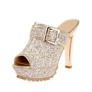 Big Bling Peep Toe Platform Mule Heels - The Urban Doll