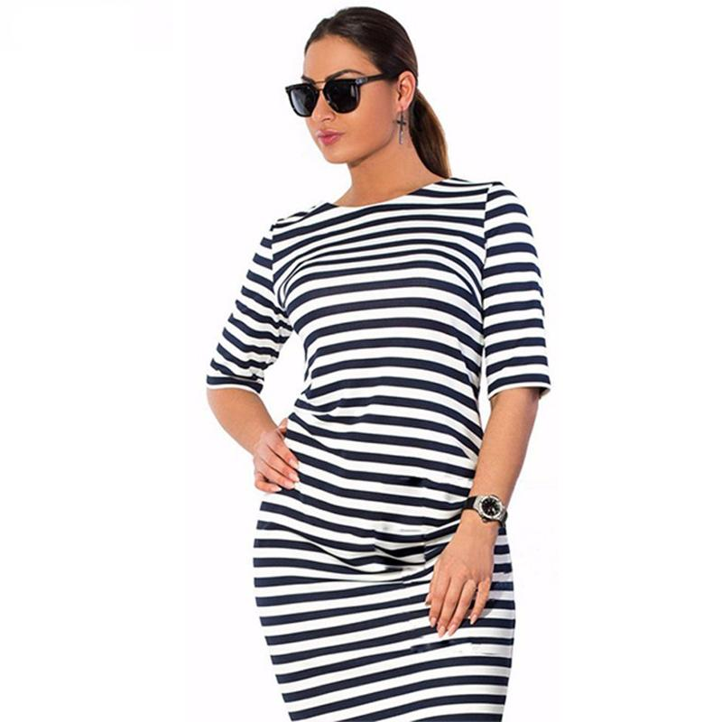 dcbbfb8a8c Black And White Striped Plus Size Jersey Dress