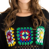 Black Boho Vintage Squares Crochet Knit Pullover - The Urban Doll
