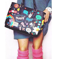 Black Graffiti Print Shoulder Bag - The Urban Doll