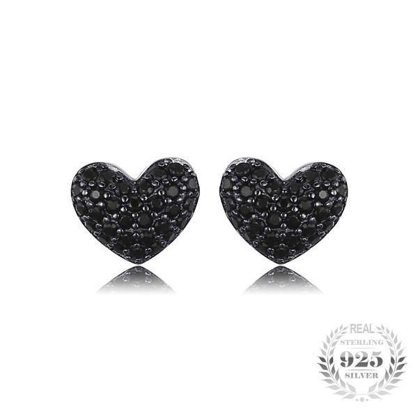 925 Sterling Silver and 0.29ct Natural Black Spinel Heart Stud Earrings - The Urban Doll