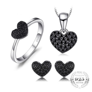 925 Sterling Silver and 0.8ct Natural Black Spinel Jewelry Set