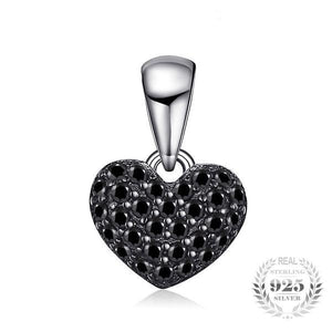 925 Sterling-Silver and 0.28ct Natural Black Spinel Heart Pendant - The Urban Doll