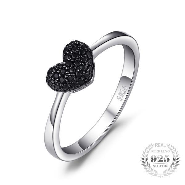 925 Sterling Silver and 0.14ct Natural Black Spinel Heart Ring - The Urban Doll