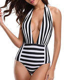 Black and White Striped One Piece Swimsuit - The Urban Doll