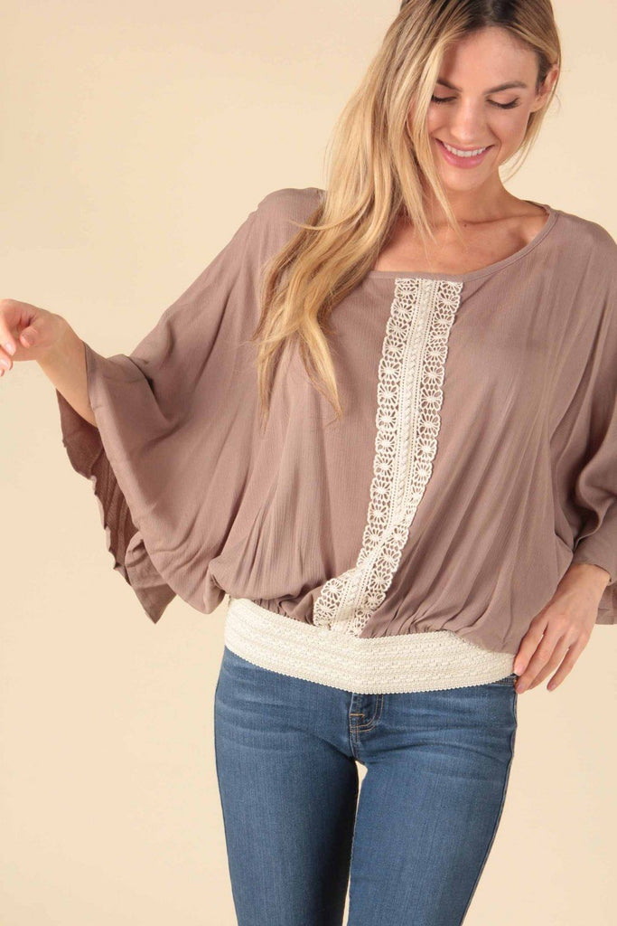 Taupe Batwing Blouse with Lace Detail