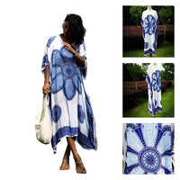 Blue Floral Medallion Beach Kaftan - The Urban Doll
