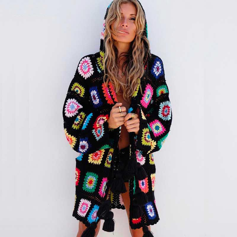 Bohemian Hand Knitted Hooded Cardigan - The Urban Doll