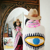 Butterfly Sleeve Evil Eye Knit Shawl - The Urban Doll