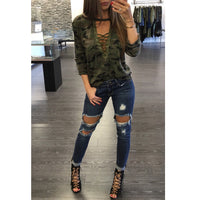 Camouflage Lace Up Top - The Urban Doll