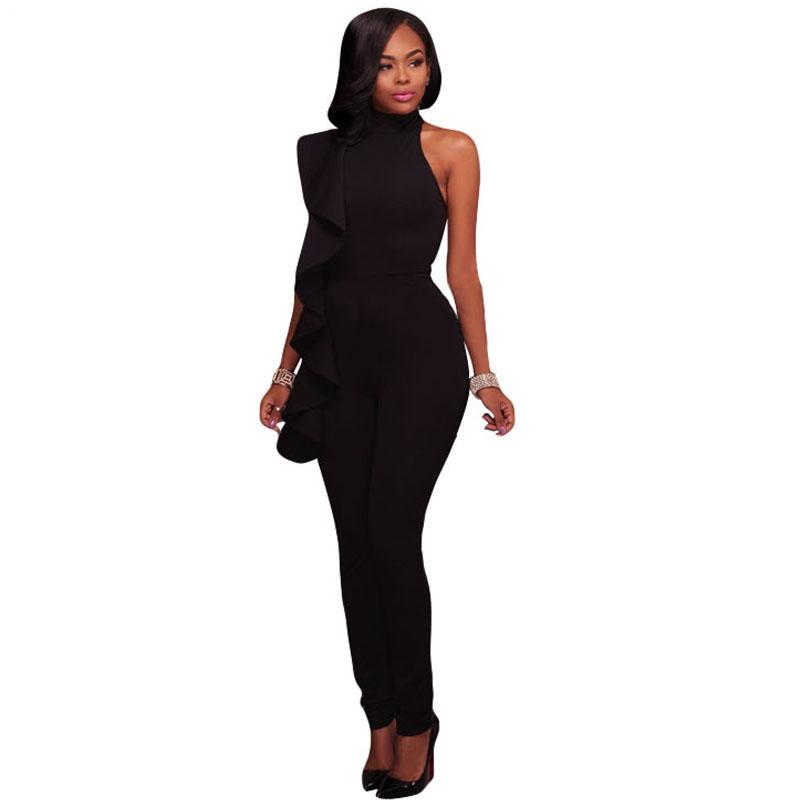 Cascading Side Ruffle Womens Sleeveless Jumpsuit - The Urban Doll