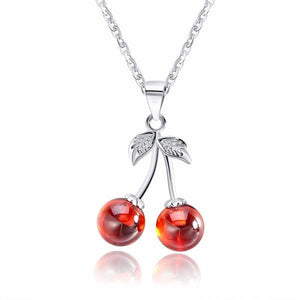 Sterling Silver and Natural Red Agate Cherry Pendant Necklace - The Urban Doll