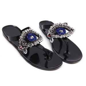 Crystal Evil Eye Sandals - The Urban Doll