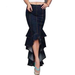 Dark Denim Fishtail Skirt - The Urban Doll