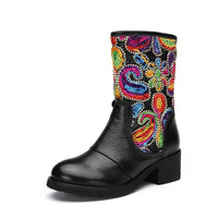 Embellished Paisley Embroidered Genuine Leather Mid-Calf Boots - The Urban Doll