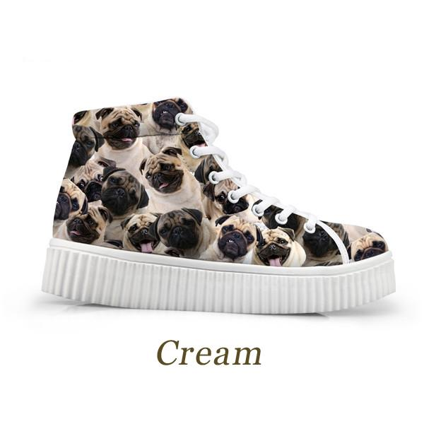 French Bulldogs Breathable Womens High Top Sneakers - The Urban Doll