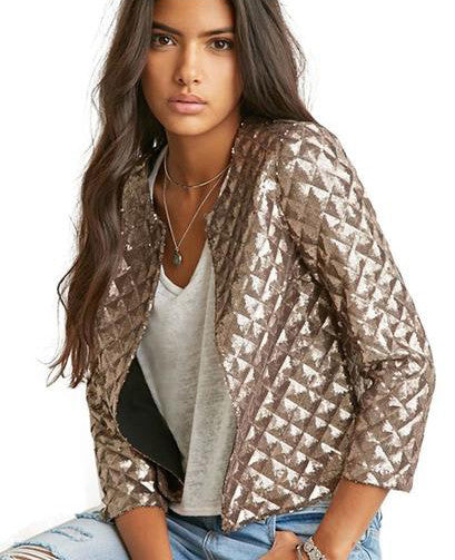 Quilted Gold Sequins Blazer - The Urban Doll