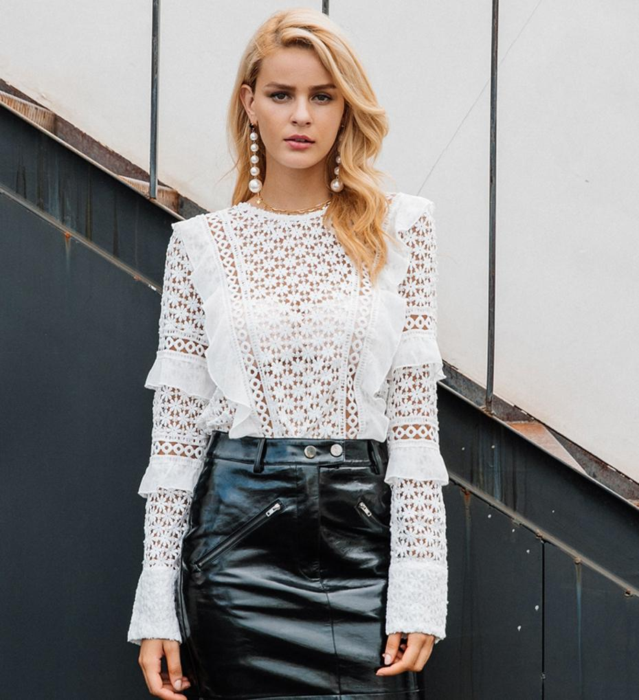 Hollowed Out Floral Lace Ruffle Blouse - The Urban Doll