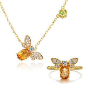Honey Bee Natural Citrine Necklace and Ring Set - The Urban Doll