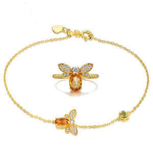 Honey Bee Natural Citrine Ring and Bracelet Set - The Urban Doll