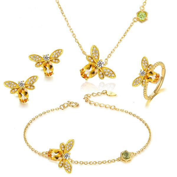Honey Bee Natural Citrine Complete Jewelry Set - The Urban Doll