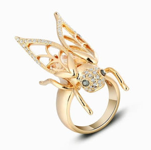 18k Gold Zircon Insect Ring - The Urban Doll