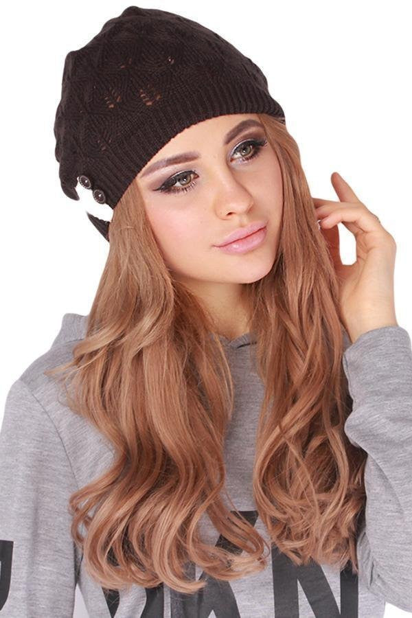 Button Lace Knit Cap (6 Colors) - The Urban Doll