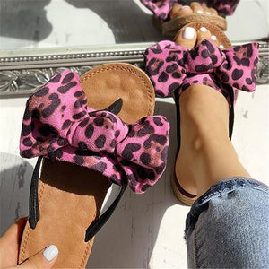 Bow Tie Leopard Flat Slide Sandals (4 Colors)