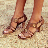 Grommet Strappy Leatherette Low Heel Sandals (5 Colors) - The Urban Doll