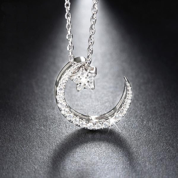 Sterling Silver Moon and Star Necklace - The Urban Doll