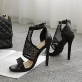 Netted High Heel Sandals - The Urban Doll