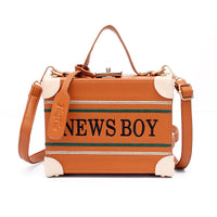 News Boy Embroidery Box Handbag - The Urban Doll