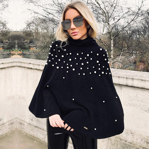 Pearl Beaded Oversized Sweater Cloak