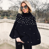 Pearl Beaded Oversized Sweater Cloak - The Urban Doll