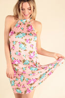 Pink Floral Mock Neck Dress - The Urban Doll