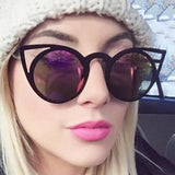 Round Cat Eye Mirrored Sunglasses (6 Colors) - The Urban Doll
