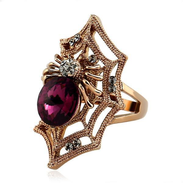 Titanium Gold and Crystal Widow Spider Webbed Ring - The Urban Doll