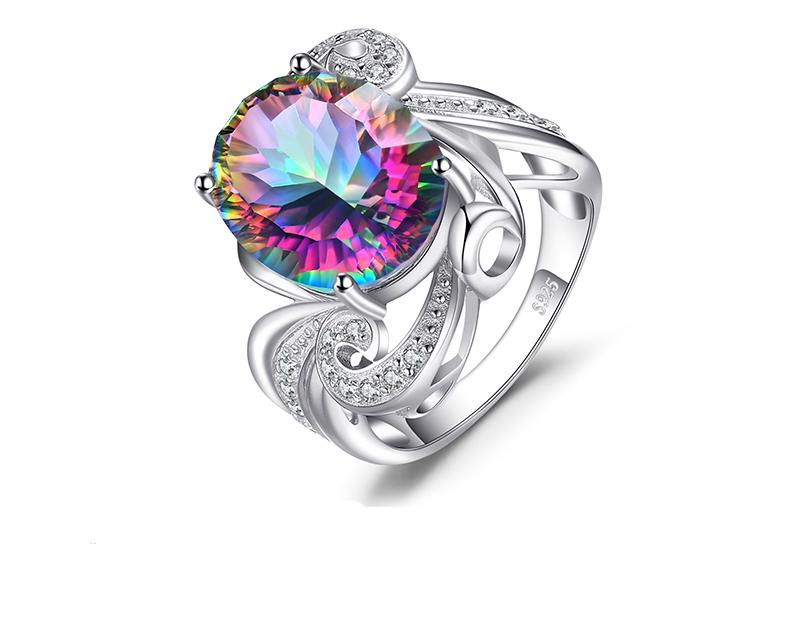 Luxury Pure Solid 925 Sterling Silver and 12.38ct Genuine Rainbow Mystic Fire Topaz Ring - The Urban Doll