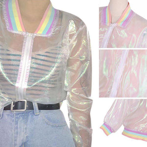 Rainbow Iridescent Transparent Bomber Jacket