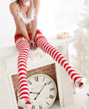 Red Candy Cane Thigh Highs - The Urban Doll