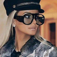 Retro Aviator Oversize Sunglasses - The Urban Doll