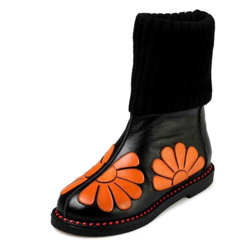 Retro Flower Genuine Leather Woolen Boots - The Urban Doll