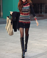 Retro Print Knit Turtleneck - The Urban Doll