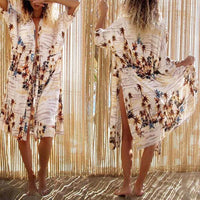 Retro Hollywood Palms Thigh Split Beach Kimono - The Urban Doll