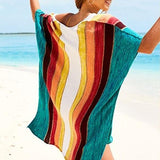 Retro Stripe Beach Cover Up - The Urban Doll