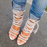 Rope Fringe Lace Up Open Toe High Heels - The Urban Doll