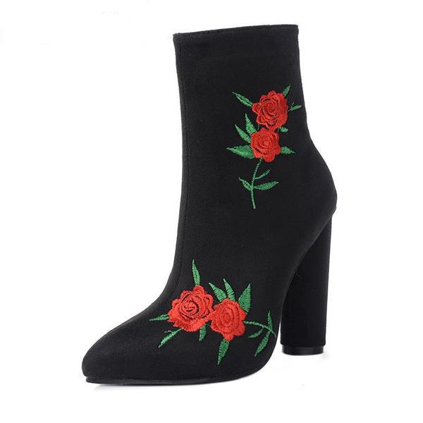 Rose Embroidered Stretch Ankle Boots - The Urban Doll