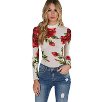 Rose Mesh Long Sleeve Bodysuit - The Urban Doll