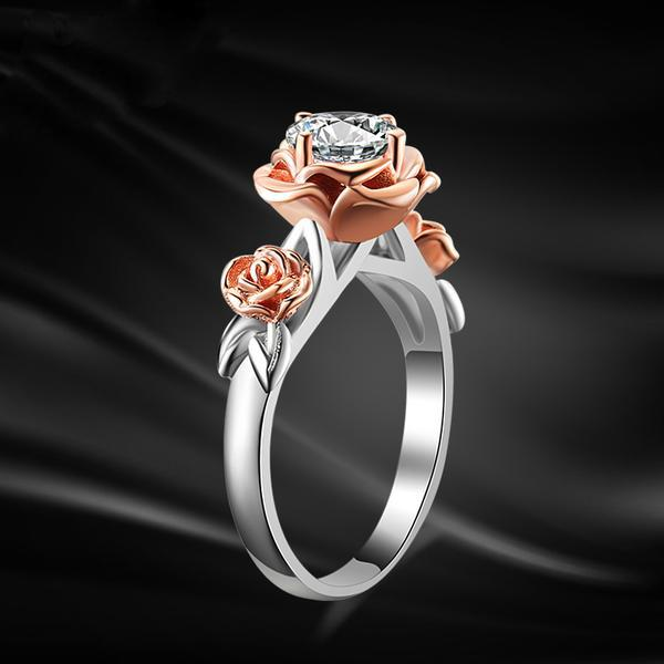 925 Sterling Silver and Natural Topaz Rose Crystal Ring - The Urban Doll
